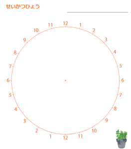 24時間 生活スケジュール表 (円)