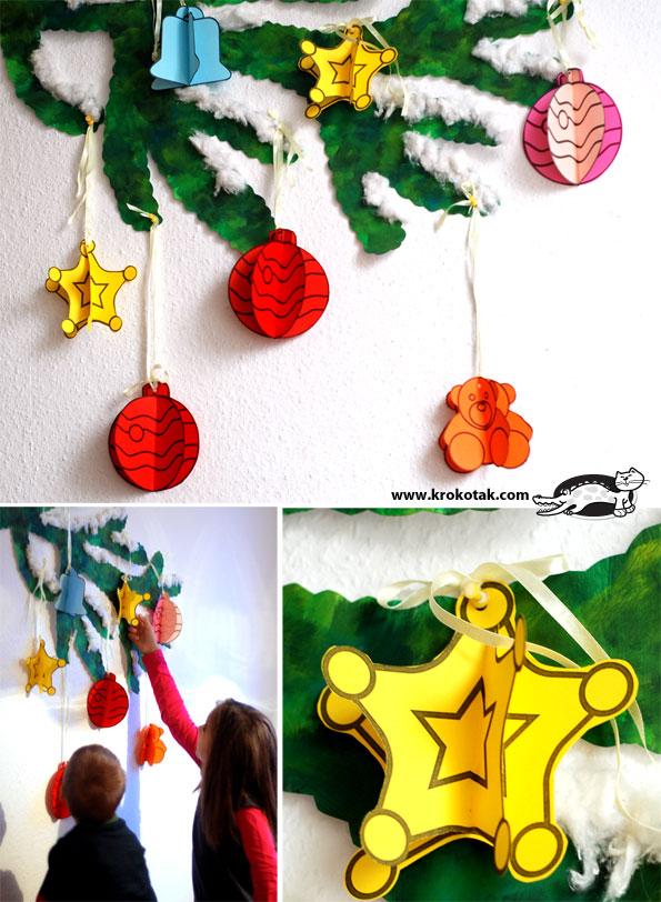 ぬりえタインプのクリスマスツリー飾り