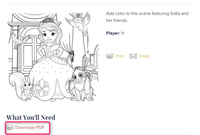 Disney Familyに1種類ぬりえがあります。「Download PDF」の文字をクリックすると、ぬりえファイルが開きます。