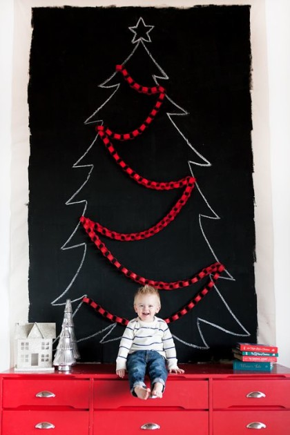 黒板シート クリスマスツリーアイデア